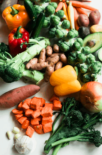 Array of vegetables on a table