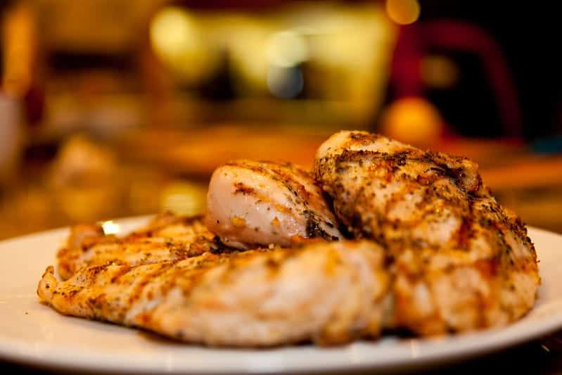 Grilled plate of chicken breasts