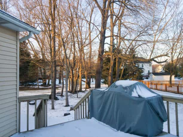 a huge backyard with snow